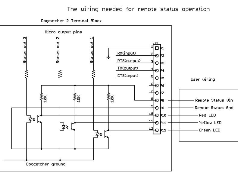 The wiring Needed for Remote Status Operation